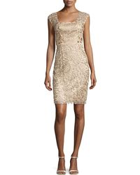 Sue Wong Beaded Sheath Dress - Lyst