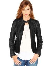 Guess Collarless Leather Moto Jacket - Lyst