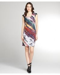 Kay Unger Red Watercolor Print and Faux Leather Trim Cap Sleeve Dress - Lyst