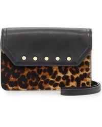 Milly Logan Leopard-Print Calf Hair Mini Crossbody Bag - Lyst