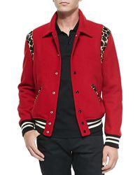 Saint Laurent Teddy Bomber Jacket W Leopard Trim - Lyst