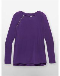 Calvin Klein Jeans Zip Detail Drop Shoulder Top - Lyst