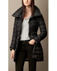 Burberry Checklined Downfilled Coat - Lyst