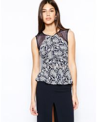 TFNC Lace Peplum Top with Mesh Inserts blue - Lyst