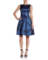 Theia Metallic Floral Fit and Flare Dress - Lyst