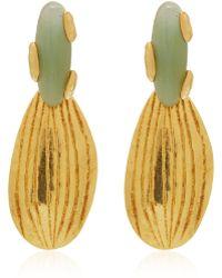Herve Van Der Straeten Gold-Plated Stone Drop Gold Earrings - Lyst
