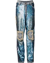 Ashish Blue Sequined Jeans - Lyst