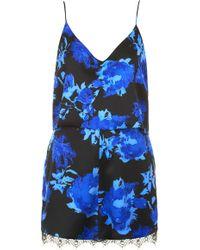 Topshop  Floral Lace Trim Playsuit  - Lyst