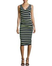 Nicole Miller Artelier Sleeveless Striped Ruched Dress - Lyst