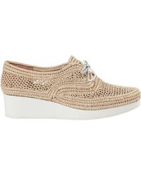 Robert Clergerie Vicolei Wedge Oxford Natural Rattan - Lyst