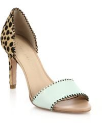 Loeffler Randall Leora Stitched Leopard-Print Calf Hair & Leather Sandals - Lyst