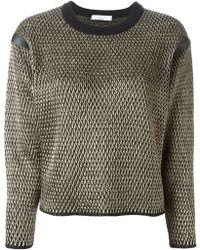 Blumarine Metallic Cropped Sweater - Lyst