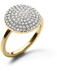 Michael Kors Golden Large Pave Disc Ring - Lyst