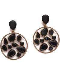 Oscar de la Renta Round Multi Clip On Earrings Black - Lyst