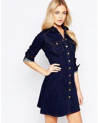 Oasis | Button Through Denim Dress | Lyst