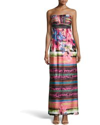 Sue Wong Strapless Floral-print Satin Maxi Dress - Lyst