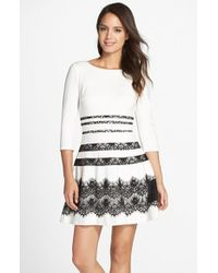 ERIN Erin Fetherston - 'millie' Ponte & Lace Fit & Flare Dress - Lyst