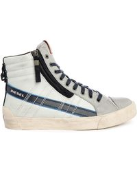 DIESEL | D-string Plus Pr White/blue Zip And Laces High-top Trainers | Lyst