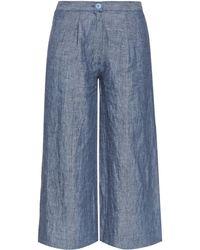 Loup Charmant Brunswick Wide-Leg Cropped Linen Trousers blue - Lyst