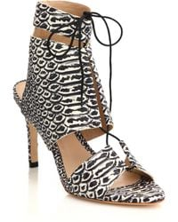 Loeffler Randall | Anaconda Leather Lace-up Sandals | Lyst