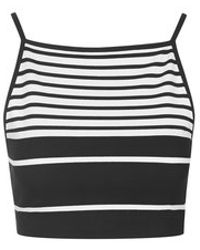 Topshop Engineered Stripe Crop Top - Lyst