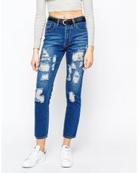 Good Vibes, Bad Daze - Good Vibes Bad Daze High Ripped Waisted Boyfriend Jeans - Lyst