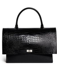 Givenchy 'Shark' Large Crocodile Leather Flap Bag black - Lyst