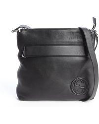 Gucci Black Leather Gg Stamp Crossbody Messenger Bag - Lyst