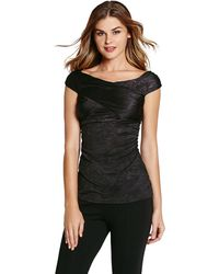Guess Woodson Ruched Cross Over Top - Lyst