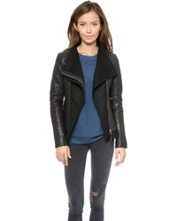 Mackage Armada Leather Jacket in Navy - Lyst