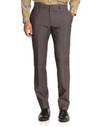 Ferragamo Tailored-Fit Flat-Front Trousers - Lyst