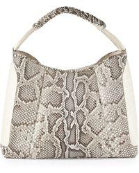 Nancy Gonzalez Python Medium Crocodile Hobo Bag Natural - Lyst