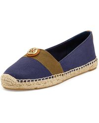 Tory Burch Beacher Canvas Espadrille Flat Navy - Lyst