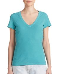 James Perse Cotton V-Neck Tee teal - Lyst