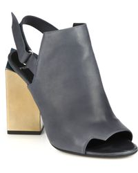 Pierre Hardy Metallic Block-Heeled Leather Sandals gray - Lyst
