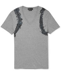 Alexander McQueen Feather-print Cotton-jersey T-shirt - Lyst