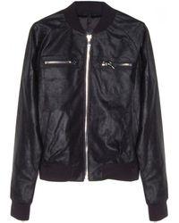 RTA Denim Tar Leather Bomber Jacket - Lyst