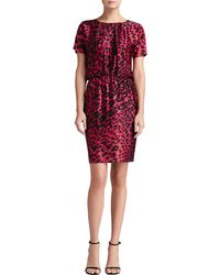 St. John Collection Leopard Print Stretch Silk Charmeuse Dolman Sleeve Dress - Lyst