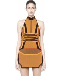 Alexander Wang Bi Color Mesh Halter Dress orange - Lyst