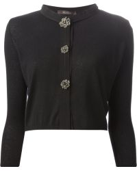 Max Mara Embellished Button Cropped Cardigan - Lyst