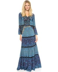 Marchesa Voyage Tiered Maxi Skirt  Featherdegrade - Lyst