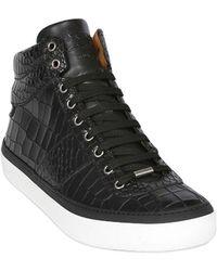 Jimmy Choo Croc Embossed Leather High Top Sneakers - Lyst