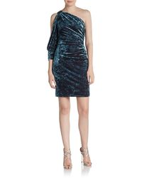 Aidan Mattox One-shoulder Velvet Dress - Lyst