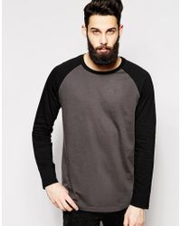 Asos Longline Skater Long Sleeve T-Shirt With Contrast Sleeves & Curved Hem - Lyst