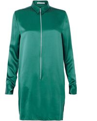Acne Studios Lyric Satin Zip Front Shirt Dress - Lyst