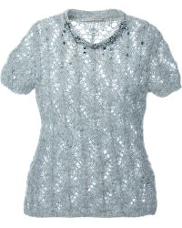 Ermanno Scervino Embellished Open Knit Sweater - Lyst