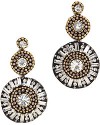 Deepa Gurnani Sunburst Earrings Goldgunmetal - Lyst