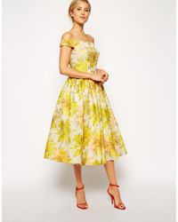 Asos Sunflower Bardot Midi Prom Dress - Lyst