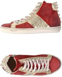 Leather Crown High-Tops & Trainers purple - Lyst
