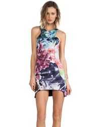Shakuhachi Flower Bomb Bonded Body Con Dress - Lyst